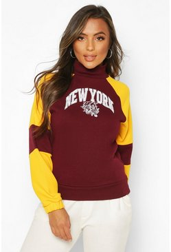 Burgundy Petite Varsity Slogan High Neck Sweat Top