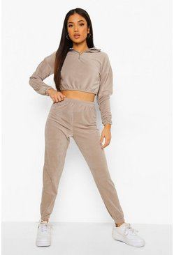 Khaki Petite Zip Up Velour Sweat & Jogger Lounge Set