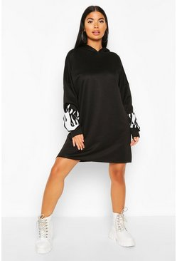 Black Petite Flame Sleeve Hooded Sweat Dress