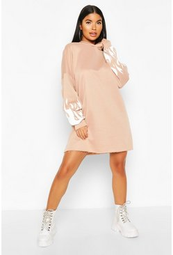 Stone Petite Flame Sleeve Hooded Sweat Dress
