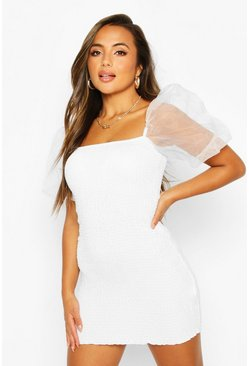 White Petite Organza Sleeve Mini Dress