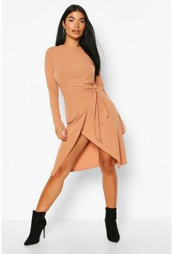 Camel Petite Knitted Rib Wrap Midi Dress