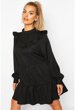 Womens Black Plus High Neck Ruffle Tiered Smock Dress
