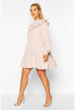 Stone Plus High Neck Ruffle Tiered Smock Dress