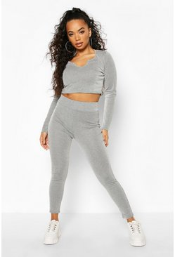 Womens Grey Petite Contrast Rib Leggings
