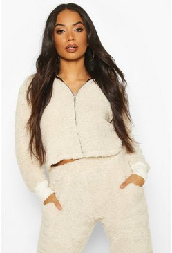 Cream Petite Teddy Cropped Hoody