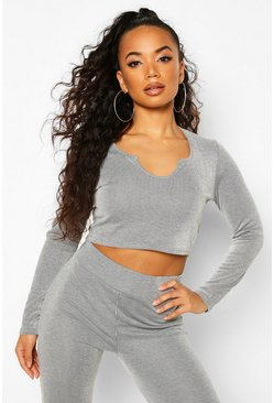 Grey Petite Contrast Rib Notch Neck Long Sleeve Top