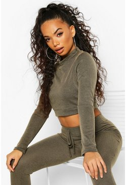 Khaki Petite Contrast Rib Long Sleeve Crop Top