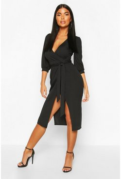 Black Petite Volume Sleeve Wrap Dress