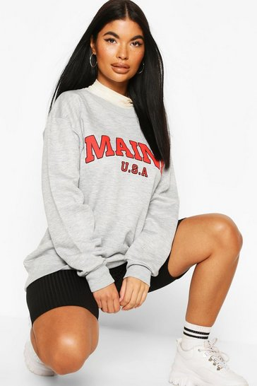 Grey Petite 'Maine' Slogan Oversized Sweat Top