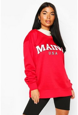 Red Petite 'Maine' Slogan Oversized Sweat Top