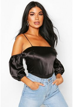 Black Petite Volume Sleeve Satin Bodysuit