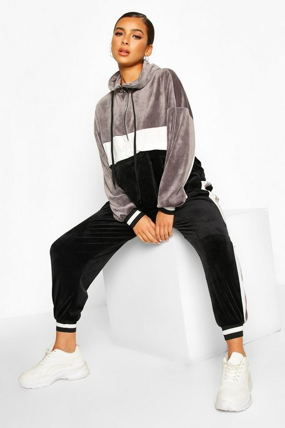 Grey Petite Colour Block Velour Stripe Tracksuit