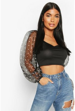 Black Petite Organza Volume Sleeve Polka Dot Crop Top