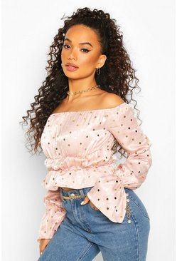 Pink Petite Polka Dot Puff Sleeve Crop Top