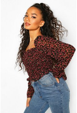 Black Petite Floral Puff Sleeve Crop Top