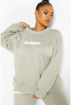Sage Plus Basic Slogan Oversized Sweat