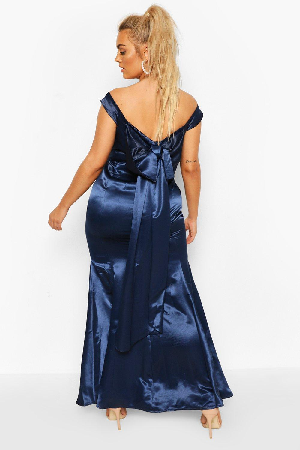80s Dresses | Casual to Party Dresses Womens Plus Occasion Satin Bow Back Maxi Dress - Navy - 16 $28.00 AT vintagedancer.com