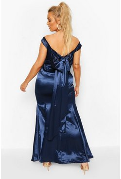 Navy Plus Occasion Satin Bow Back Maxi Dress