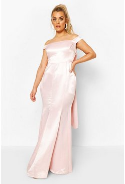 Soft pink Plus Occasion Satin Bow Back Maxi Dress