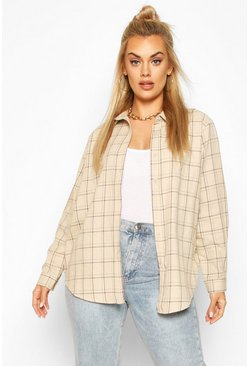 Beige Plus Check Oversized Shirt