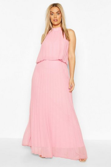 Blush Plus Occasion Pleated Maxi Dress
