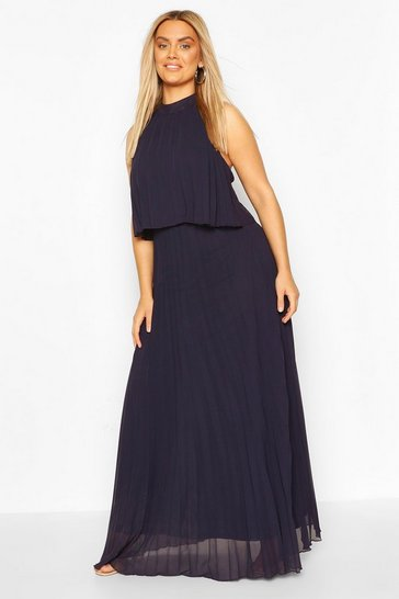 Navy Plus Occasion Pleated Maxi Dress