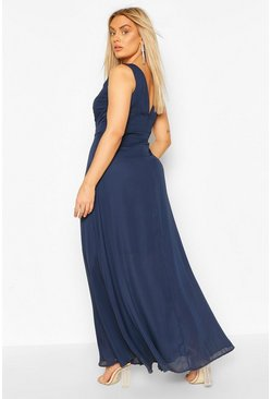 Navy Plus V Back Chiffon Occasion Maxi Dress