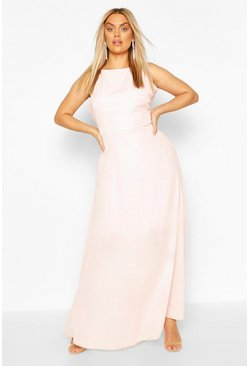 Soft pink Plus V Back Chiffon Occasion Maxi Dress