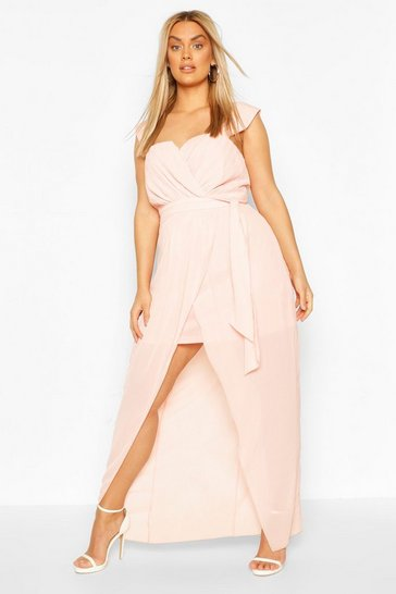 Blush Plus Occasion Pleated Wrap Midi Dress
