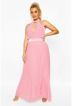 Dusky pink Plus Occasion Cut Out Occasion Maxi Dress