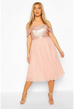 Blush Plus Occasion Sequin Bardot Midi Dress