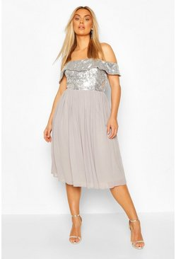 Silver Plus Occasion Sequin Bardot Midi Dress