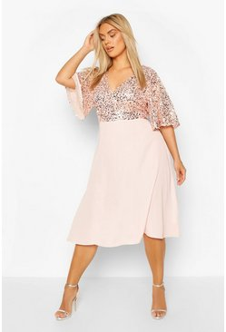 Blush Plus Occasion Sequin Angel Sleeve Midi Dress