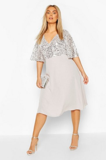 Silver Plus Occasion Sequin Angel Sleeve Midi Dress