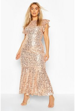 Plus - Robe maxi grandes occasions à sequins et volants, Blush
