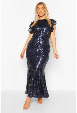 Navy Plus Occasion Ruffle Sequin Maxi Dress