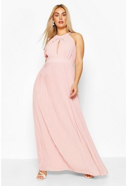 Blush Plus Bridesmaid Pleated Maxi Dress