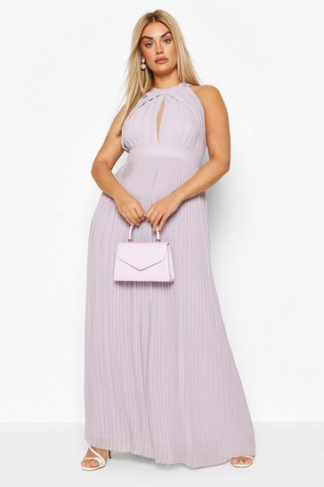 Grey Plus Bridesmaid Pleated Maxi Dress
