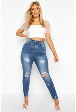 Womens Mid blue Plus Washed Distressed Hem Mom Jean
