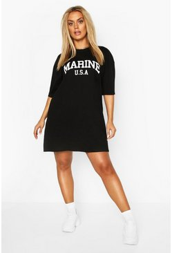 Black Plus Marine Slogan T-Shirt Dress