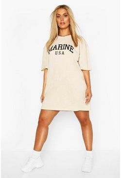 Stone Plus Marine Slogan T-Shirt Dress