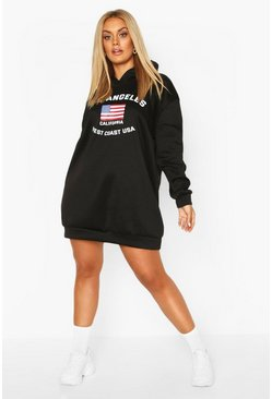 Black Plus Los Angeles Hooded Sweat Dress
