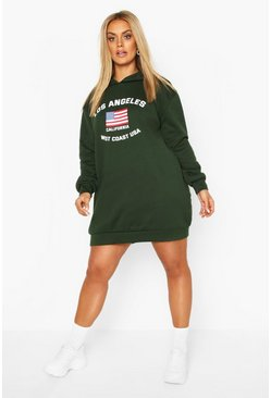 Vestido estilo sudadera con capucha Los Angeles Plus, Bottle green