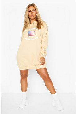 Plus Los Angeles Sweatshirt-Kleid mit Kapuze, Steingrau