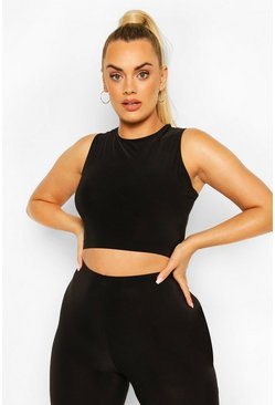 Black Plus Soft Touch Round Neck Gym Top