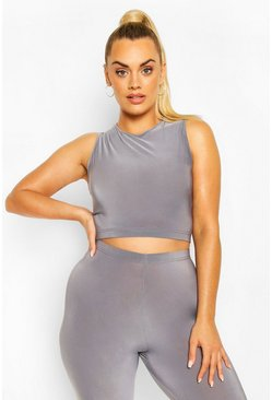 Dark grey Plus Soft Touch Round Neck Gym Top
