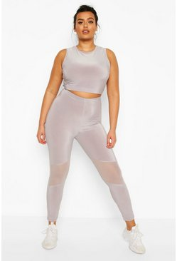 Plus Soft Touch Fitness-Leggings aus Netzstoff mit Cut-Out, Hellgrau