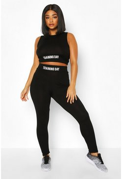 Black Plus Slogan Jersey Workout Legging