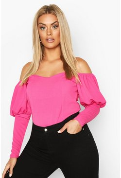 Fushia Plus Off Shoulder Puff Sleeve Fitted Top